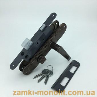 Замок ТАНДЕМ врезной ЗВ4 АМ (с ручками, ключ/поворотник)