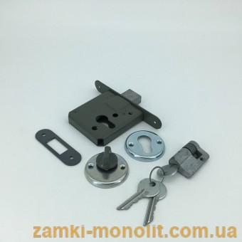 Замок ТАНДЕМ врезной ЗВ-1 (цилиндровый без ручек, ключ/поворотник)